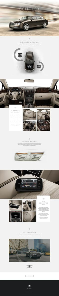 Bentley by: Bureau. Modern web design for Bentley Layout Design, Web Layout, Page Design, Design Web, Design Homes, Design Firms, Flat Design, Website Design Inspiration, Branding