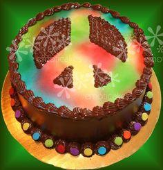 "9"" round Birthday Cake from Emoticakes.com () Peace Sign Cakes, Round Birthday Cakes, Desserts, Food, Tailgate Desserts, Deserts, Essen, Postres, Meals"