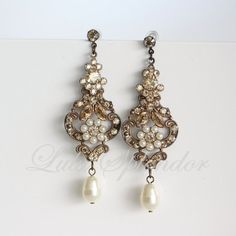 Chandelier Wedding Earrings Antique Gold Bridal Swarovski Golden Shadow Crystal Pearl Vintage Jewelry Rustic Charm Amy