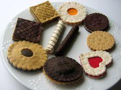 Sentí alimentos set - fieltro galletas incluyendo pastel jaffa