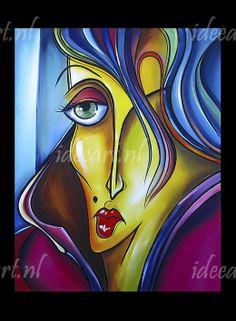 Schilderij Abstract Vrouw Gezicht   Schilderijen abstracte gezichten