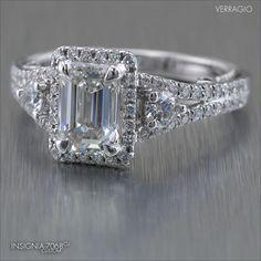 Insignia-7068CU customized for an elegant Emerald cut diamond in Platinum.  Learn more> www.verragio.com/Verragio-Engagement-Rings/Insignia-Engagement-Rings/INSIGNIA-7068CU
