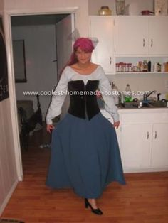 Homemade Little Mermaid Town Dress Costume: This Little Mermaid Town Dress Costume was a great costume for a cold Ohio Halloween.  An attractive alternative to sleezy and revealing outfits that are