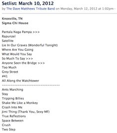 DMTB Setlist - Mar 10, 2012 - Knoxville, TN     www.facebook.com/thedmtb