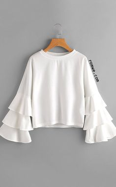 White Round Neck Ruffle Long Sleeve Blouse Source by hidayatri Teen Fashion Outfits, Modest Fashion, Look Fashion, Hijab Fashion, Trendy Outfits, Girl Fashion, Fashion Dresses, Cute Outfits, Blouse Styles