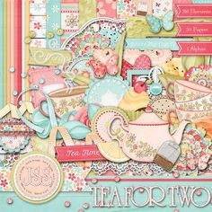 Tea For Two Digital Scrapbook Kit  Digital by JssScrapBoutique, $4.99