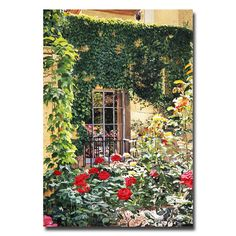 """Trademark Fine Art """"Afternoon in the Rose Garden"""" by David Lloyd Glover Painting Print on Canvas"""