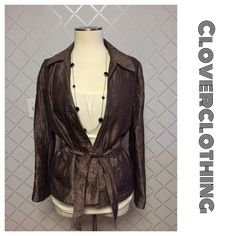 """J Jill bronze shimmer belted jacket 🌸🌸 Light weight. NWOT flawless zipper closure in front belt included. Inner lining hand wash line dry. Amazing & excellent quality materials rayon/ nylon blend. Sleeve length 24.5 length of jacket : 25.5"""" Washable J. Jill Jackets & Coats"""