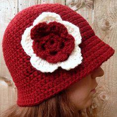 Dark red cloche hat