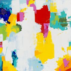 """Abstract modern art is perfected in the Grenaway. Handpainted variety of colors play around on the white canvas. - Dimensions: 40""""W x 40""""D - Material: Canvas - Shipping: Ships within 5-7 days. US only"""