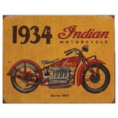 """Vintage inspired, 1934 Indian Motorcycle metal sign. 16.1"""" (41cm) wide x 12.6"""" (32cm) tall."""
