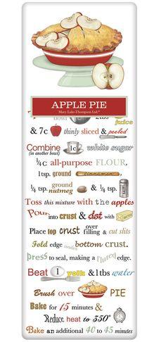 Old Fashioned Apple Pie Recipe 100% Cotton Flour Sack Dish Towel Tea Towel www.aloveofdishtowels.com