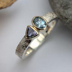 Aquamarine and Tanzanite silver and gold ring