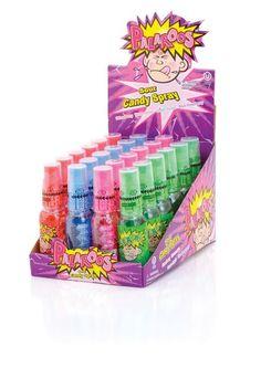 Palaroos Sour Candy Spray Flavors: Strawberry, Watermelon, Green Apple, & Blue Raspberry.