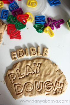 Recipe for Edible Low Sugar Peanut Butter Play Dough 1 cup PB  1 cup dry milk powder 1 Tb. honey