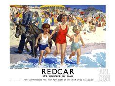 Redcar - Childrens Corner by National Railway Museum Posters Uk, Train Posters, Railway Posters, Beach Posters, Retro Posters, Vintage Wood Signs, Vintage Art, Vintage Prints, Vintage Style