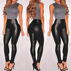 d515bbbdeed4f Women High Waist Stretchy Black Faux Leather PU Leggings Pants Tights Faux  Leather Leggings, Leather