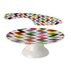I discovered this French Bull - Ziggy Cake Stand & Knife Set on Keep. View it now. Pedestal Cake Stand, Cake Stands, Pie Hole, Ceramic Tableware, Knife Sets, Cake Plates, Serving Platters, All Modern, French