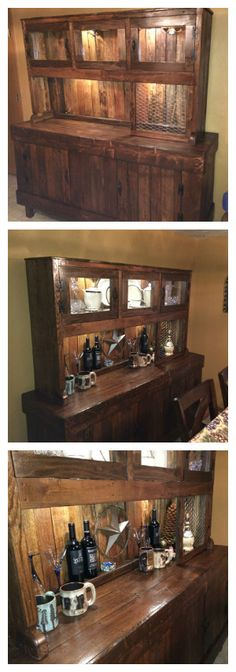 "2-Piece Country Hutch designed with pallet wood. All exterior wood pieces were planed prior to assembly. Size is 78"" wide by 72"" tall. Bottom cabinet for storage and counter top. Top cabinet for display. Added LED lighting (4 light kit from local Home Depot). Finish is MinWax Special Walnut (2... #Cabinet, #ChinaHutch, #CountryHutch, #Pallets, #Recycled"