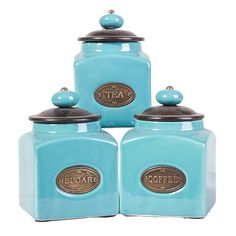 Turquoise Set Of 3 Ceramic Hand Painted Canisters | Small by Moroccan Keepsakes on THEHOME.COM.AU