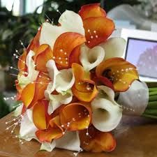 Hand Tied Ultra Elegant Wedding Bouquet Arranged With Flame Orange & White Calla Lilies + Spray Pearls Calla Lily Wedding, Calla Lily Bouquet, Orange Wedding Flowers, Hand Tied Bouquet, Calla Lillies, Fall Wedding Bouquets, Wedding Flower Arrangements, White Flowers, Lilies Flowers