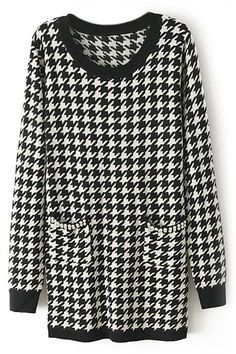 ROMWE | Fake Pearl Houndstooth Long Sleeve Black Dress, The Latest Street Fashion