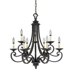 Designer's Fountain Messina 27.75-in 9-Light Natural Iron Wrought Iron Candle…