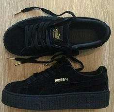 All Black Rihanna Puma Creepers I have the same shoes. Sock Shoes, Cute Shoes, Me Too Shoes, Women's Shoes, Shoe Boots, Fancy Shoes, Trendy Shoes, Latest Summer Fashion, Summer Fashion Trends