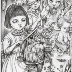 Sam Crow Art= A little peek at part of the large Alice inspired drawing I have been working on for a Through The Looking Glass exhibition at the Inverarity Gallery this summer. #Alice #creepycuteart #gothicalice #popsurrealism #darkalice #gothic #tea-party #thedodo #queenofhearts #bat