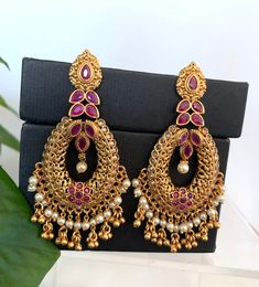 Anklet Jewelry, Jewelry Art, Bridal Jewelry, Gold Jewelry, Jewelry Design, Peacock Earrings, Indian Earrings, Indian Jewelry, Women's Earrings