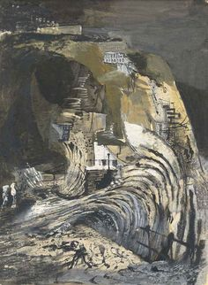 The Wave, 1944 by Keith Vaughan (English Indian ink, wax-resist and gouache Landscape Art, Landscape Paintings, Oil Paintings, Landscapes, Camberwell College Of Arts, Manchester Art, Glasgow School Of Art, Heart Art, Painting Inspiration