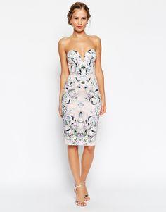 Vestido de tubo con escote pronunciado curvado y estampado floral de ASOS.