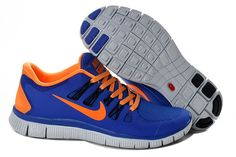 Pas Cher Authentique Nike Free 5.0 - Medium Orange Bleu Blanc - Femme Chaussures Running