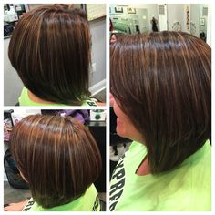 Partial highlight cinnamon color in a red copper brown haircolor