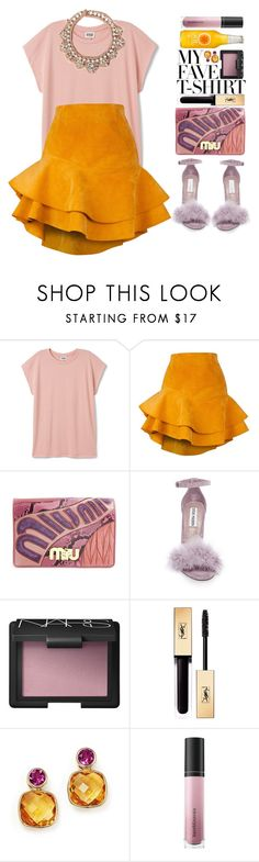 """My Fave Tshirt"" by blueberrylexie ❤ liked on Polyvore featuring Siobhan Molloy, Miu Miu, Steve Madden, NARS Cosmetics, Yves Saint Laurent, Bare Escentuals, Mignonne Gavigan and MyFaveTshirt"
