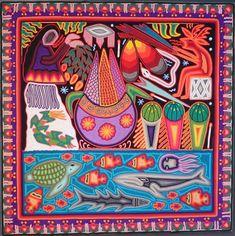 huichol string painting by maximino hernandez and karina carrillo