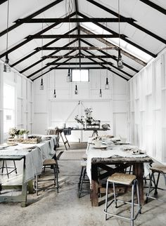 Lynda Gardener's The Estate by Trentham - a beautiful whitewashed restored barn venue for gatherings, weddings and events and Australia.