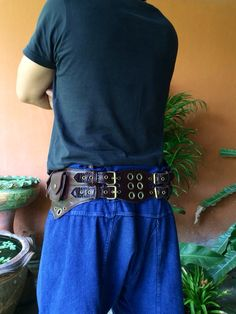 Leather Utility Belt / Pocket Belt / Festival Belt / Tech / Travel Belt - The Jedi