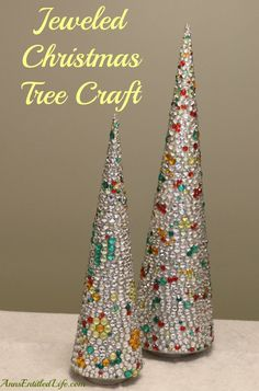 Jeweled Christmas Tree Craft; An easy, DIY holiday craft that adds sparkle and shine to your Christmas decor! http://www.annsentitledlife.com/holidays/jeweled-christmas-tree-craft/