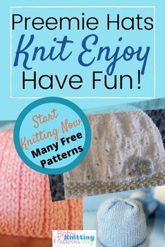 Knit Preemie Hats Patterns Easy for Beginners - Knitting patterns, knitting designs, knitting for beginners. Baby Hat Knitting Patterns Free, Beginner Knitting Patterns, Baby Hat Patterns, Baby Hats Knitting, Crochet Baby Hats, Knitting For Beginners, Knitting Designs, Knitted Hats, Free Knitting
