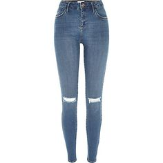 Mid wash ripped Amelie superskinny jeans - £42 #RIDENIM