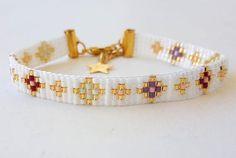 Imagen de etsy, birthday gift, and gold bracelet Bead Loom Bracelets, Beaded Bracelet Patterns, Bead Loom Patterns, Wire Wrapped Jewelry, Beaded Jewelry, Handmade Bracelets, Handmade Jewelry, Tear, Loom Beading