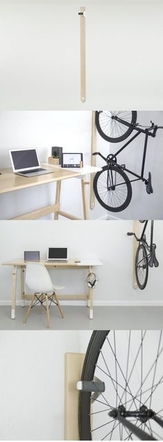 A part of Artifox's beautifully simplistic series of minimalist office objects, the Rack is bike storage you'll be as happy to have on display as the Bike Hanger, Bike Rack, Garage Velo, Crea Design, Bike Shelf, Bicycle Storage, Minimalist Office, Minimalist Furniture, Diy Furniture