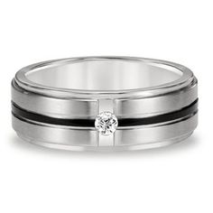 Triton 1/10 ct. Diamond Men's Band in Stainless Steel, 8MM available at #HelzbergDiamonds