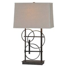 Ren Wil Aria Table Lamp ($218) ❤ liked on Polyvore featuring home, lighting, table lamps, antique bronze, gray shades, colored lights, grey lamp, gray table lamp and grey table lamp