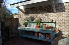 Southern Living Idea House in Senoia Georgia: Tour the Outdoor 'Rooms' potting bench with sink Potting Bench With Sink, Potting Tables, Garden Sink, Garden Table, Garden Benches, Garden Pots, Outdoor Sinks, Outdoor Rooms, Outdoor Living