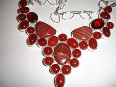 Red Snake Skin Jasper and Carnelian Bubble Statement Necklace $45