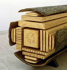 통나무에서 각목으로... 버릴게 없다 log diagram sculpture