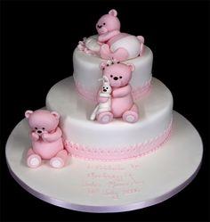002228 Christening Cake 2 tier with Handmade Bears.jpg 757×800 pixels