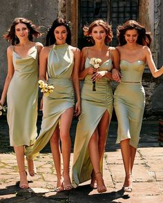 Mismatched Bridesmaid Dresses, Wedding Bridesmaid Dresses, Dream Wedding Dresses, Olive Green Bridesmaid Dresses, Bridesmaid Dress Colors, Wedding Goals, Ring Verlobung, Mode Outfits, The Dress